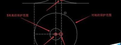 cad中怎么绘制并计算接闪杆的保护范围?