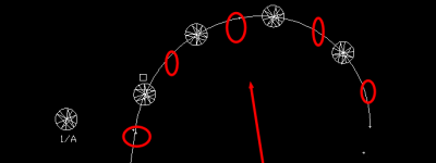 cad怎么按照线条排列块?