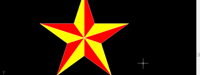 CAD怎么画彩色的五角星?